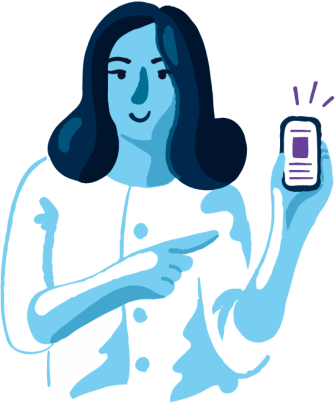 woman with app in cellphone